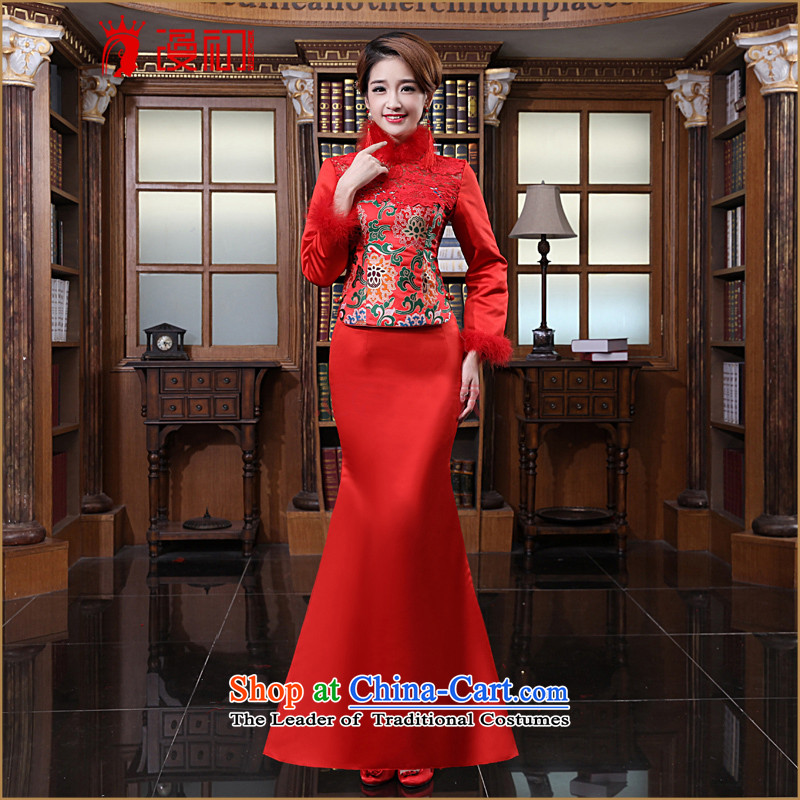 In the early�2015 new man bride qipao bows Stylish retro-long red qipao bridesmaid service marriage made red