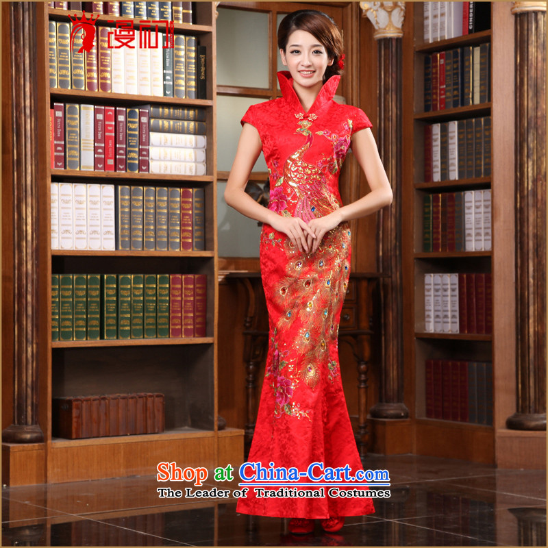 In the early 2015 new man Stylish retro married bride improved cheongsam qipao chinese red color long cheongsam red燲L