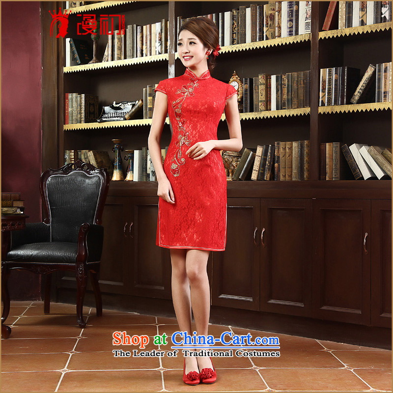 In the early 2015 new man red retro qipao short, improved stylish lace qipao bride bows services red燣