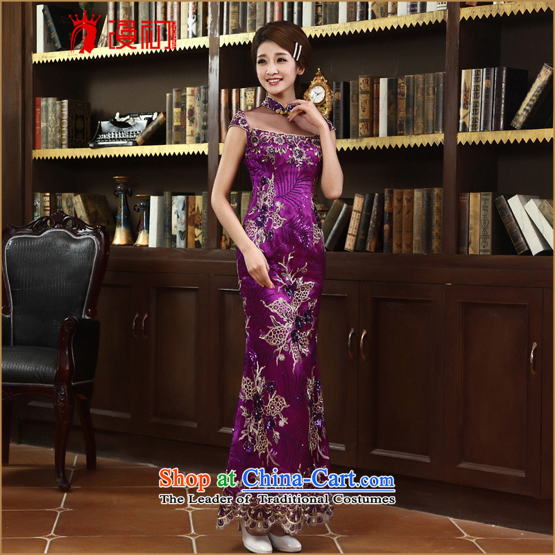 In the early 2015 new man stylish improved qipao marriages bows of Qipao qipao gown purple燤 crowsfoot