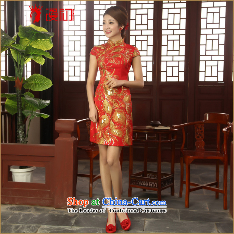 In the early 2015 new definition of Qipao Chinese red short of improved qipao marriages bows services qipao skirt red燬