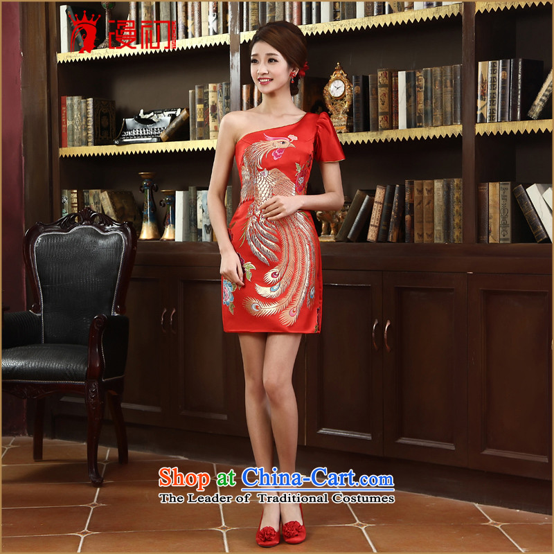 In the early 2015 new definition of autumn and winter load short of Qipao stylish bride shoulder improved services cheongsam dress bows red燲L