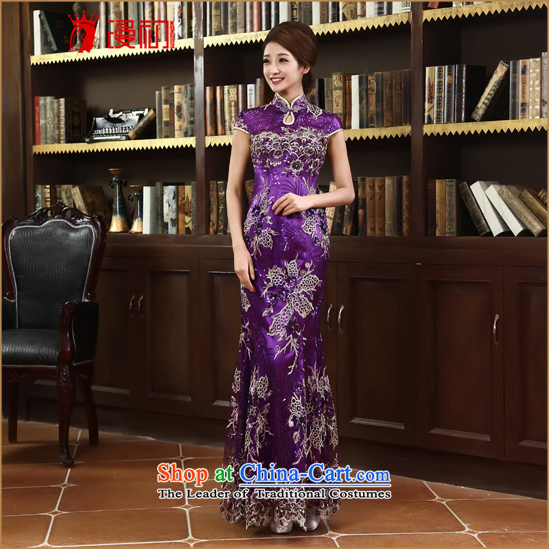 In the early 2015 new man lace qipao stylish improved marriages bows services qipao long qipao purple�M