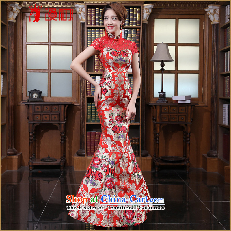 In the early 2015 new man red bride wedding dress improved Stylish retro long qipao bows to spring red燲L
