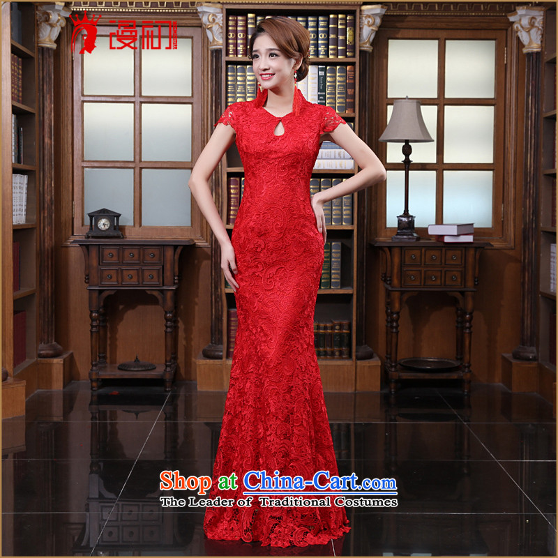 In the early 2015 new man water-soluble lace stylish wedding red bows to the marriage of qipao gown red燣