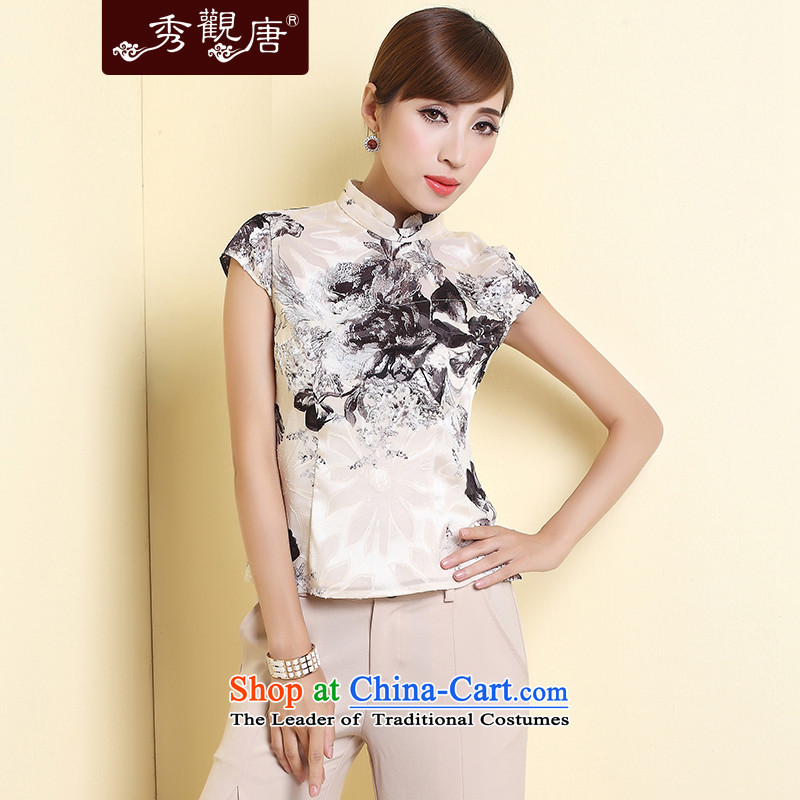 -Sau Kwun Tong- deplores the 2015 Summer of ethnic Chinese women Ms. Tang dynasty TD4308 rice white shirt qipao燬
