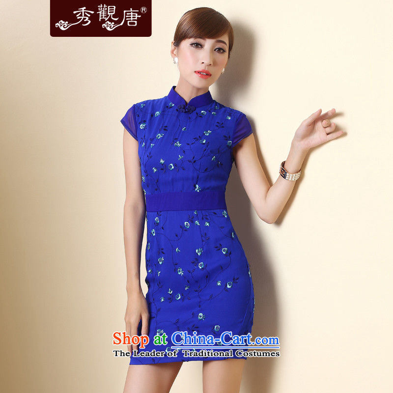 -Sau Kwun Tong- Blue Star Silk Cheongsam�15 Summer herbs extract tray clip retro women's dresses QD4285 BLUE燲XL