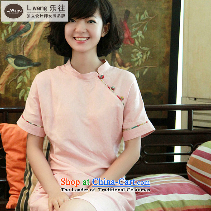 To prevent the original l.wang designer brands for summer new retro ethnic improved qipao linen dresses S094G pink燤