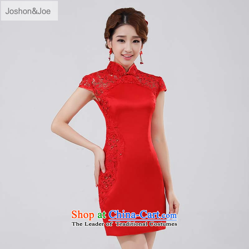 Joshon_joe聽female wedding dresses collar disc detained bows services red lace engraving parquet water drilling package shoulder cheongsam grand opening ceremony red聽S