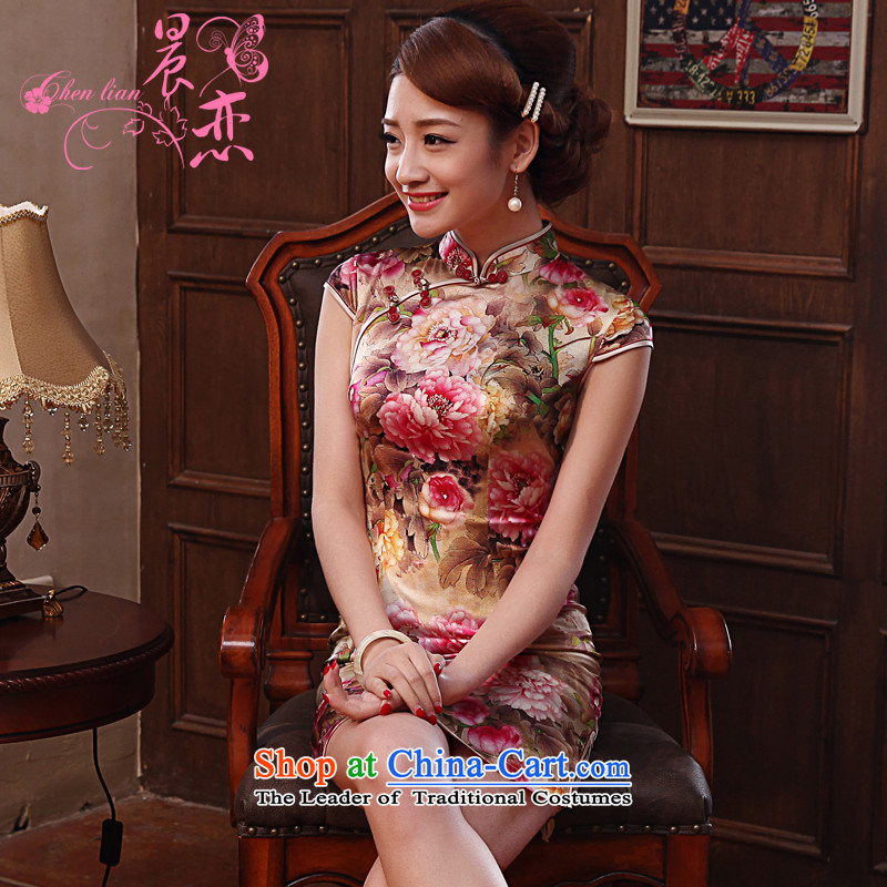 Morning new qipao land 2014 Summer retro short-sleeved improved stylish herbs extract silk cheongsam dress Mudan Red燲XL