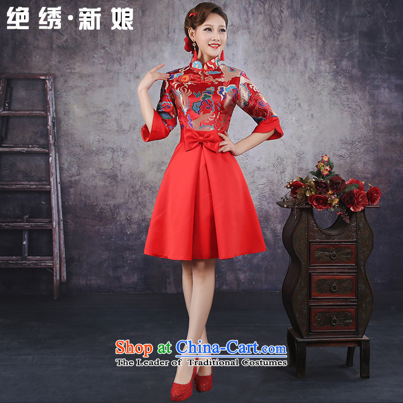Embroidered brides is new Wedding 2015 Korean Top Loin of short, pregnant women married to red dress evening drink cheongsam red�L�Suzhou Shipment