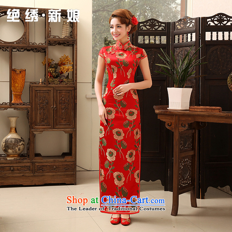 Embroidered is爈oaded spring and summer 2015 bride cotton linen long short-sleeved high on the forklift truck Stylish retro cheongsam red燬燬uzhou Shipment