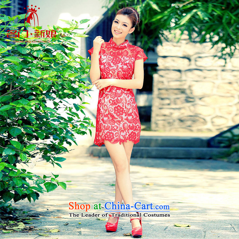 A bride wedding dresses qipao 2015 new marriage summer bows service qipao 255 red S