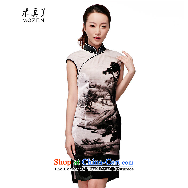 Wooden spring and summer of 2015 really new Chinese landscape painting velvet gown China wind silk cheongsam dress winter�,579 07 Light Gray燲XXL