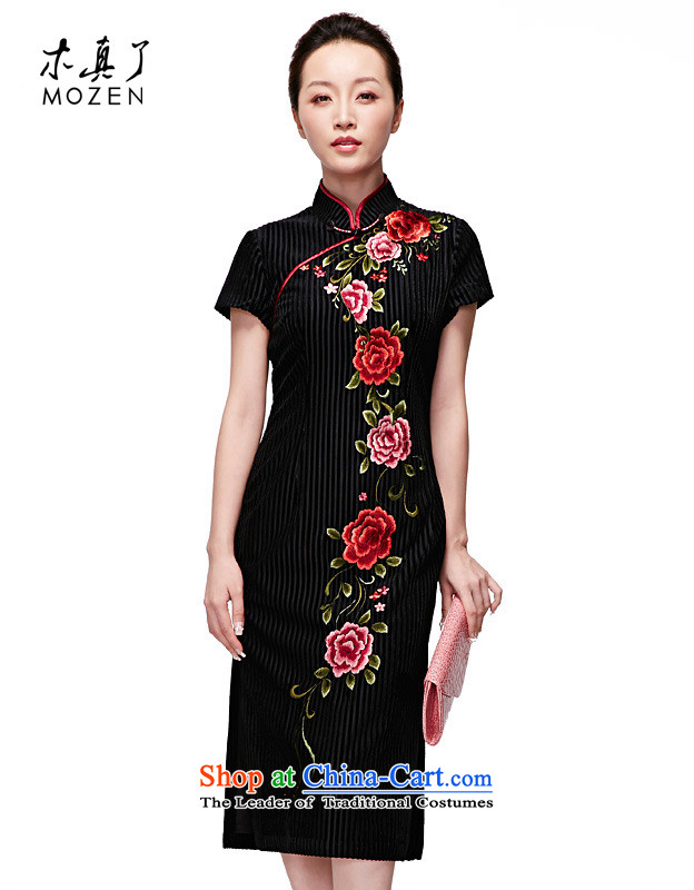 Wooden spring and summer of 2015 really new embroidery, long qipao gown?32350 Original elegant black 01?M
