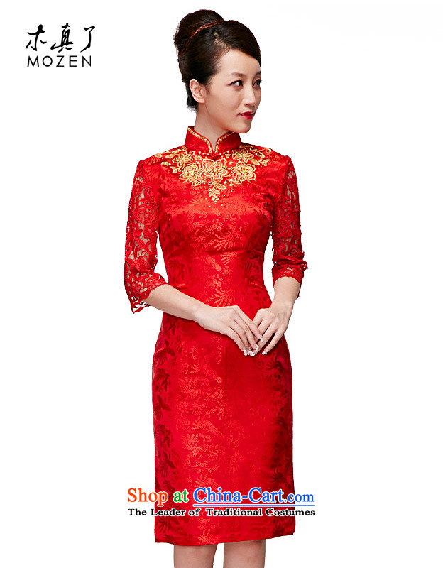 Wooden spring of 2015 really new seven-sleeved silk dresses wedding dresses bridal dresses skirt�635 bows 05 Red燲XL