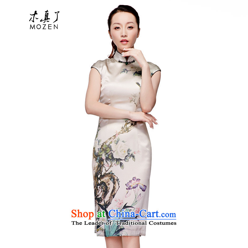 Wooden spring and summer of 2015 Really replace the new Chinese silk dress China wind improved cheongsam dress elegant beauty girl skirt�518 15 green background birdie燲L