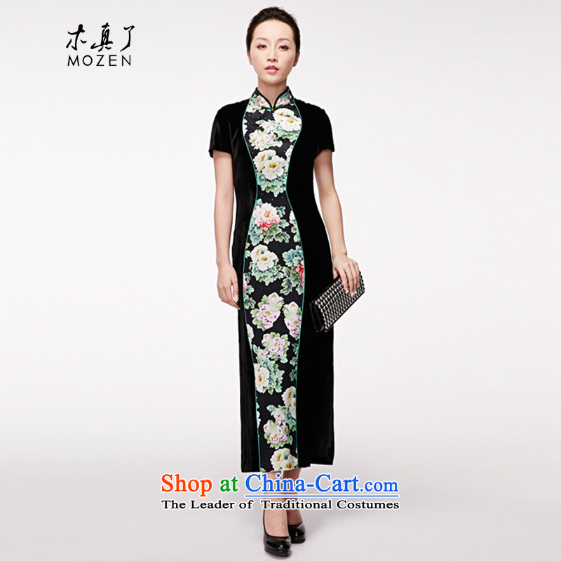A qipao wood really spring and summer 2015 New Silk Cheongsam vases stitching long dresses with聽22213 mother聽Xxl_b_ 01 Black