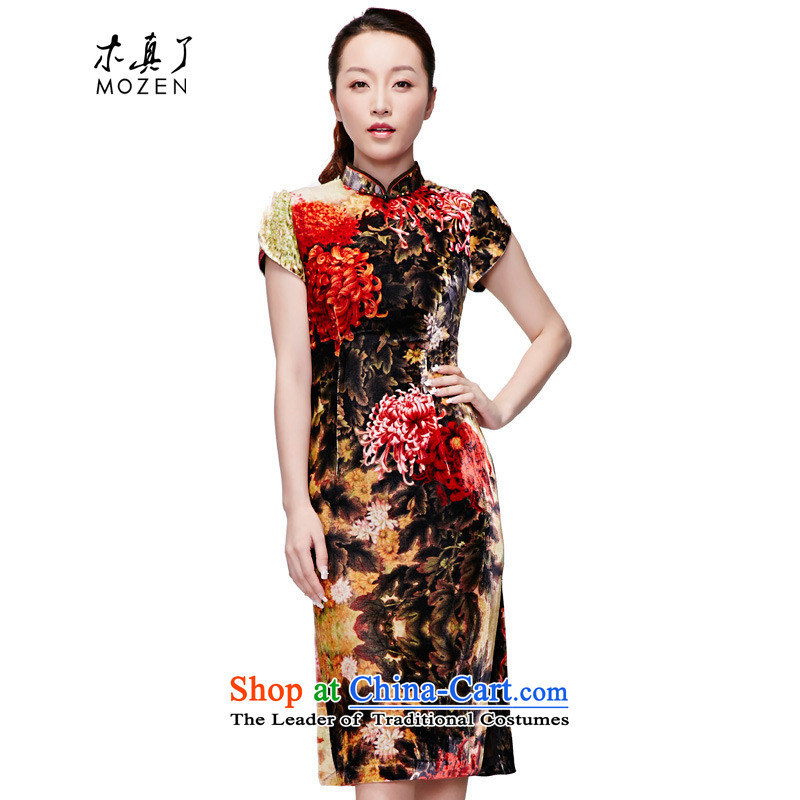 Wood in spring and summer of 2015 really new Chinese Dress scouring pads poster elegance. Long cheongsam dress temperament?NO.21847 visitor dark yellow 12?L