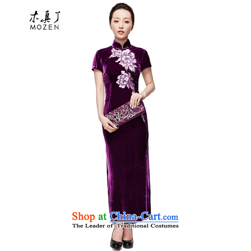 Wooden spring and summer of 2015 really new temperament dress original design long Silk Cheongsam MOM pack�150 16 purple燬
