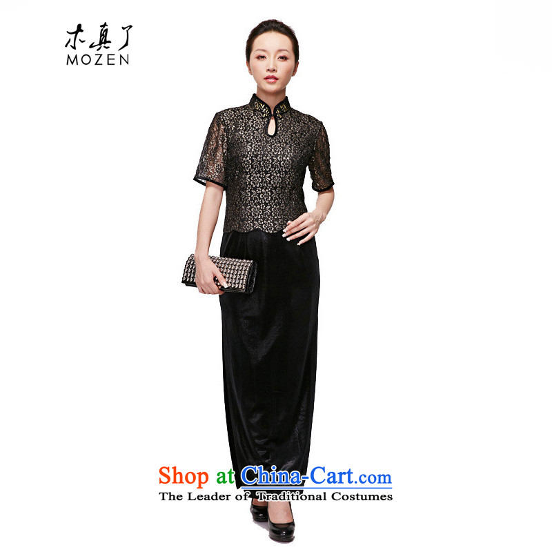 Wooden spring of 2015 really new plush robes of silk cheongsam dress high on long nightmare cheongsam MOM pack NO.21984 visitor 01 Black?XL