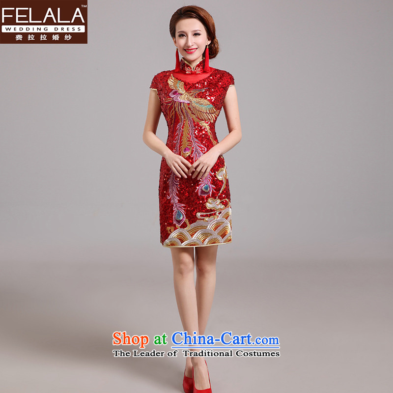 Ferrara�15 new bride retro lights are short of Qipao Chinese dragon embroidery to drink marriage services RED燤