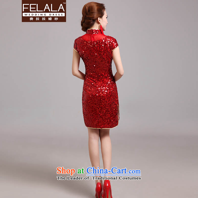 Ferrara 2015 new bride retro lights are short of Qipao Chinese dragon embroidery to drink marriage services RED M Ferrara wedding (FELALA) , , , shopping on the Internet