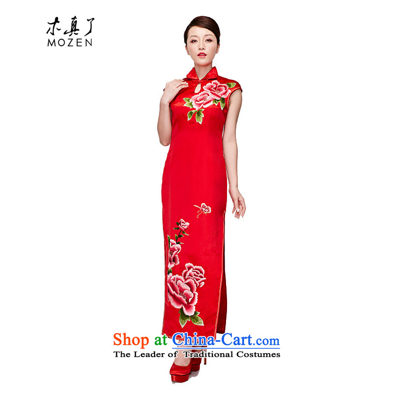 Wooden spring and summer of 2015 really new Chinese silk embroidery elegant qipao gown long package mail 22038 04 red XL