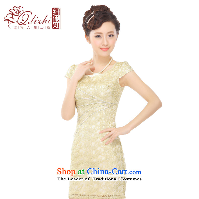 The former Yugoslavia Li known爏ummer 2015 new retro champagne gold lace petals collar elegant qipao skirt燪T13-65 improved stylish燾hampagne gold燤