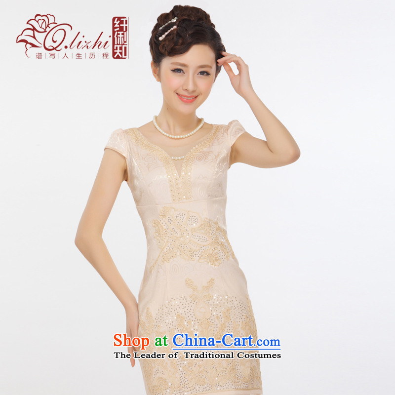 The former Yugoslavia Li known爏ummer 2015 new elegant V-neck and sexy beauty fashion improved short skirt燪T13-67 qipao爈ight champagne color燲L