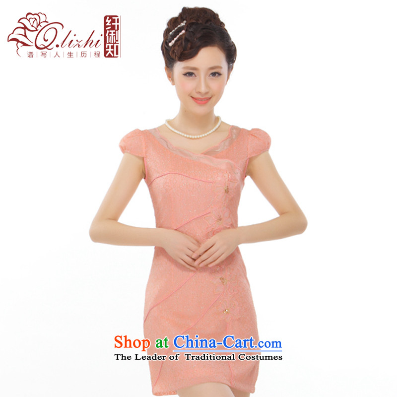 The former Yugoslavia Li known summer 2015 new petals mahogany and collar lining pearl embroidered Kim stylish improved short qipao QLZ15Q6006 orange toner M