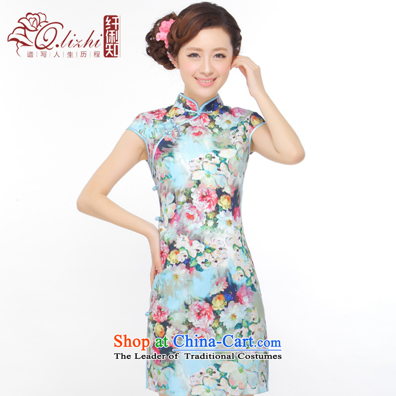 The former Yugoslavia Li know the carpet of the new summer 2015 improved low on sepia elegant qipao lady's skirt QW45B113 picture color XL