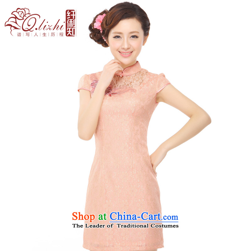 The former Yugoslavia Li known summer 2015 new sexy lace stylish improved temperament gentlewoman embroidered short skirt QZ043138 cheongsam dress orange toner M