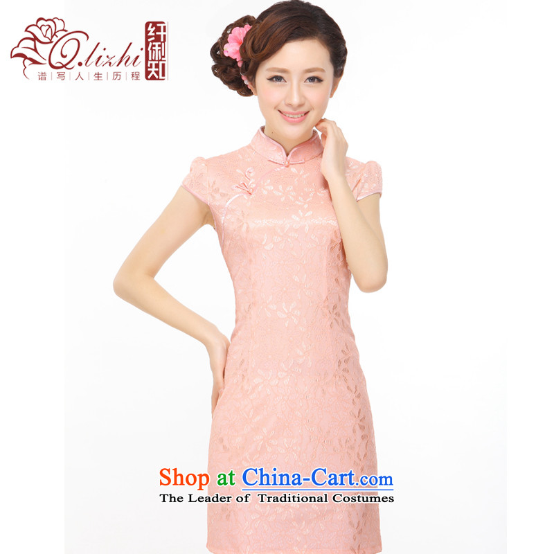 The former Yugoslavia Li aware of the?2014 Summer New elegant feel female Mrs Sau San lace stylish improved short skirt?Q043137 cheongsam dress?pink?M