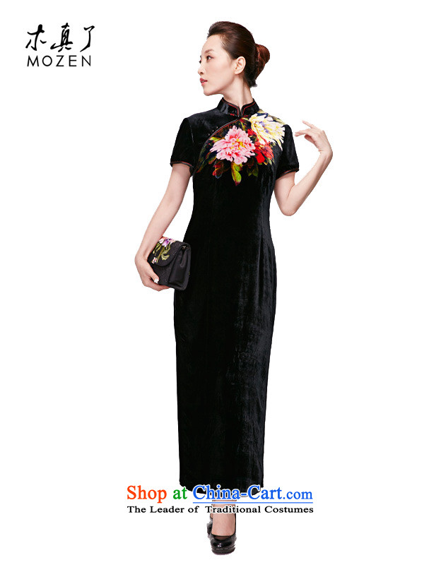 Wooden spring and summer of 2015 really new elegant qipao gown original silk is pressed to short-sleeved piping package mail?498 from 1 January to 01 black?XXL