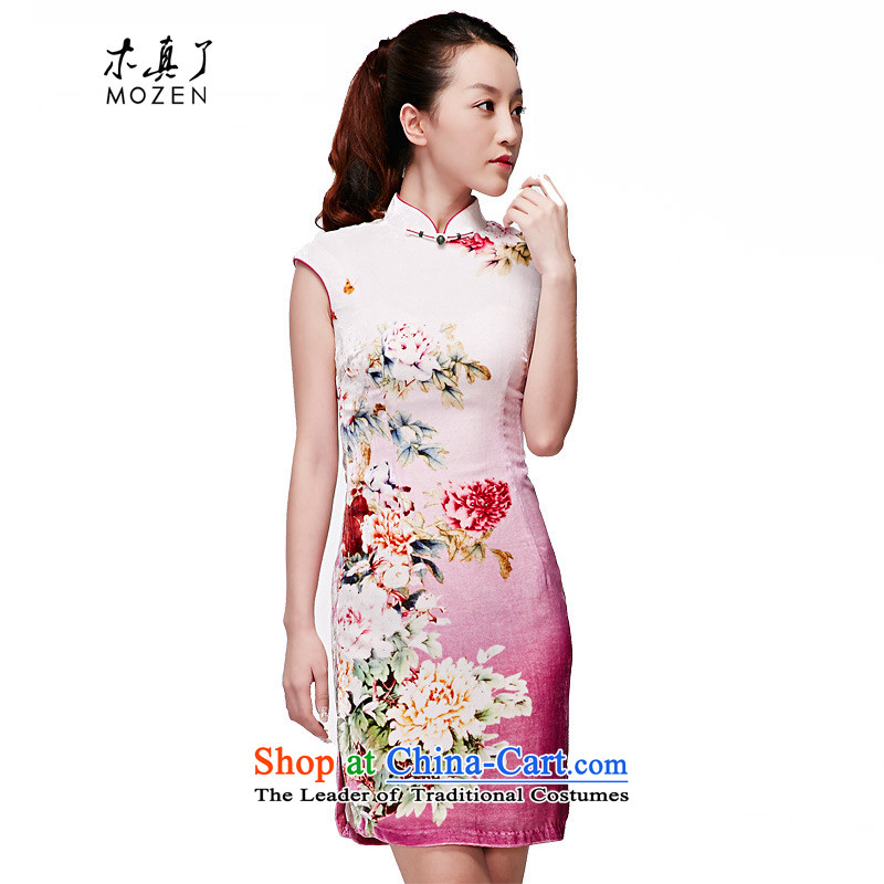The MOZEN2015 wood really spring and summer new Chinese silk cheongsam dress velvet cheongsam dress package mail?R21850 17 light purple?L