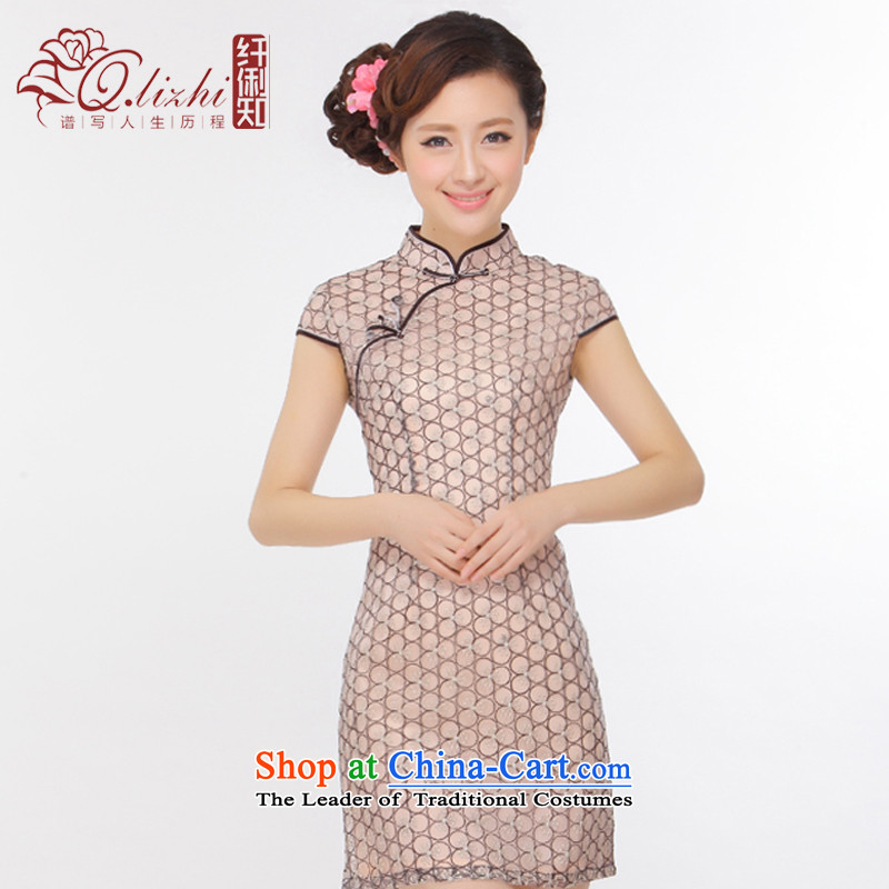The former Yugoslavia Li known summer 2015 new temperament gentlewoman Stylish retro Sau San short qipao improved skirt Q43151 picture color XL