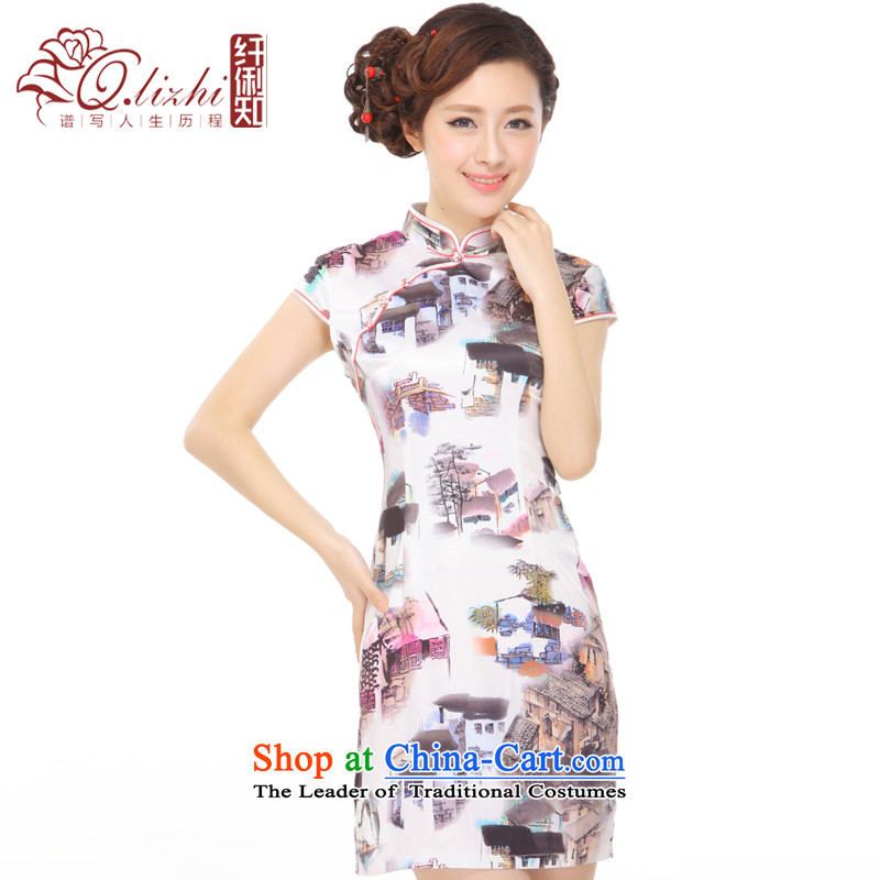 The former Yugoslavia Li known summer 2015 new retro paintings emulation, Sau San stylish short skirts qipao Q43169 improved picture color XXL