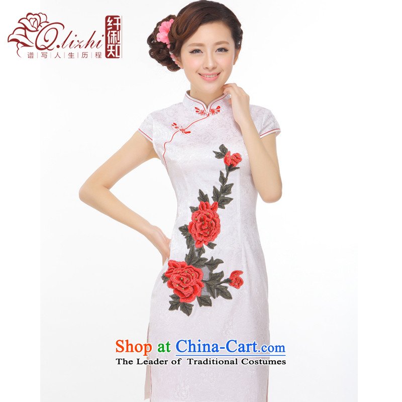 It deplored the former Yugoslavia Li spend the summer of 2015, the new improved retro China embroidery aristocratic small wind power's qipao incense Q43170 Pearl White XL