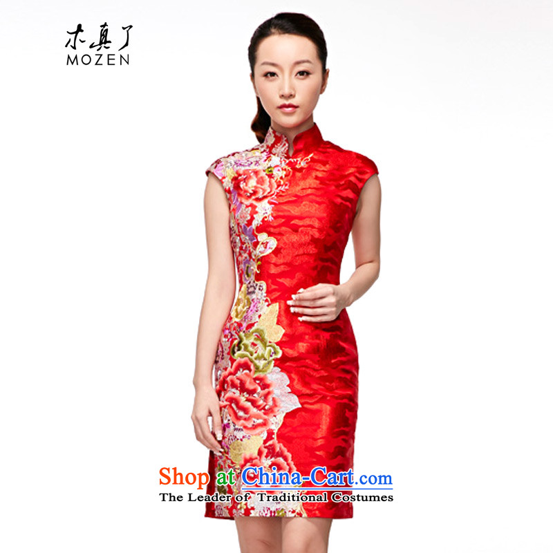 Wooden spring and summer of 2015 is really the new bride dress qipao gown toasting champagne red marriage聽32358 04 red聽S