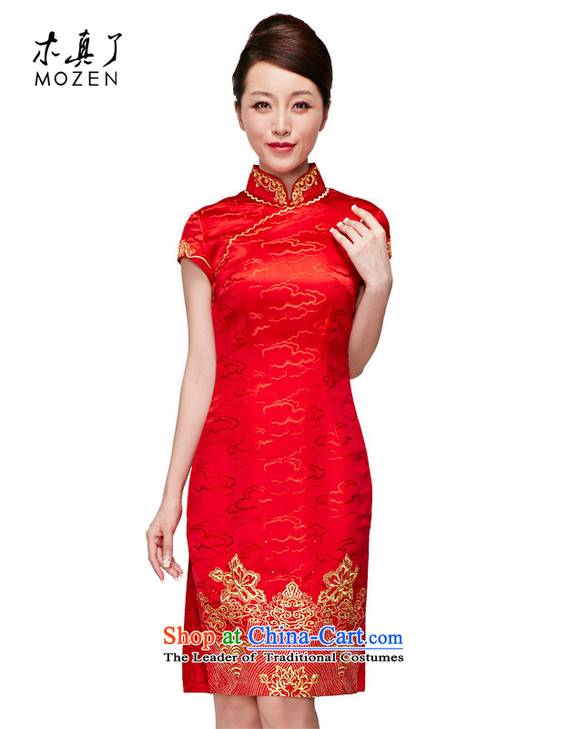 Wooden spring and summer of 2015 is really high-end wedding dress silk embroidered short, bridal dresses�683 TS 04 Red燲L