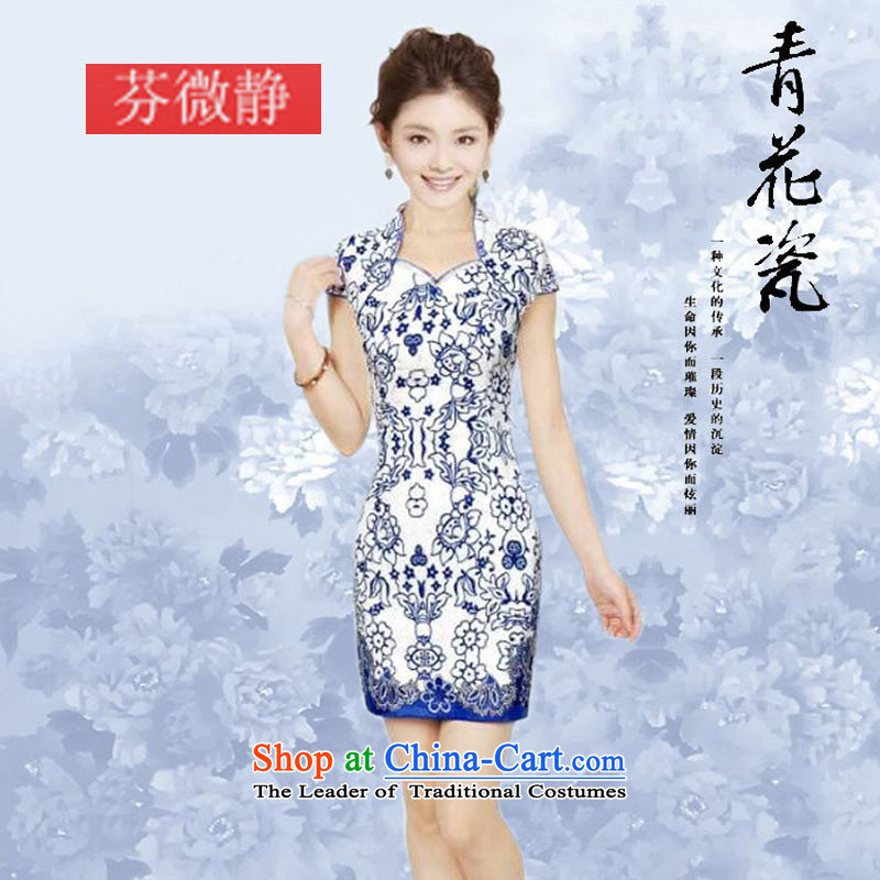 2015 Summer daily retro Tang dynasty porcelain qipao stylish elegance improved cheongsam dress qipao porcelain?L