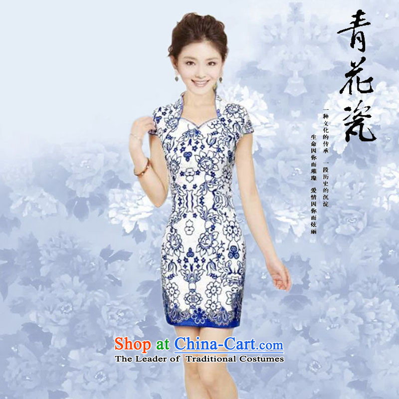 2015 Summer daily retro Tang dynasty porcelain qipao stylish elegance improved cheongsam dress qipao porcelain聽, L, Stephen micro-ching , , , shopping on the Internet