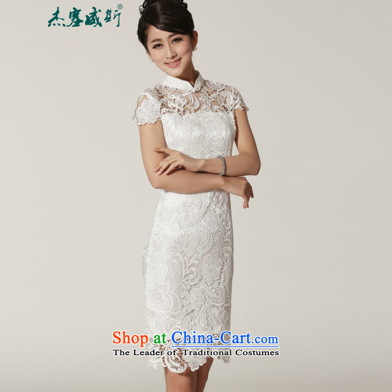 In the?2014Jie spring and summer female new elegant classic full lace manually detained collar dresses qipao?M2365 female 1 White?XL