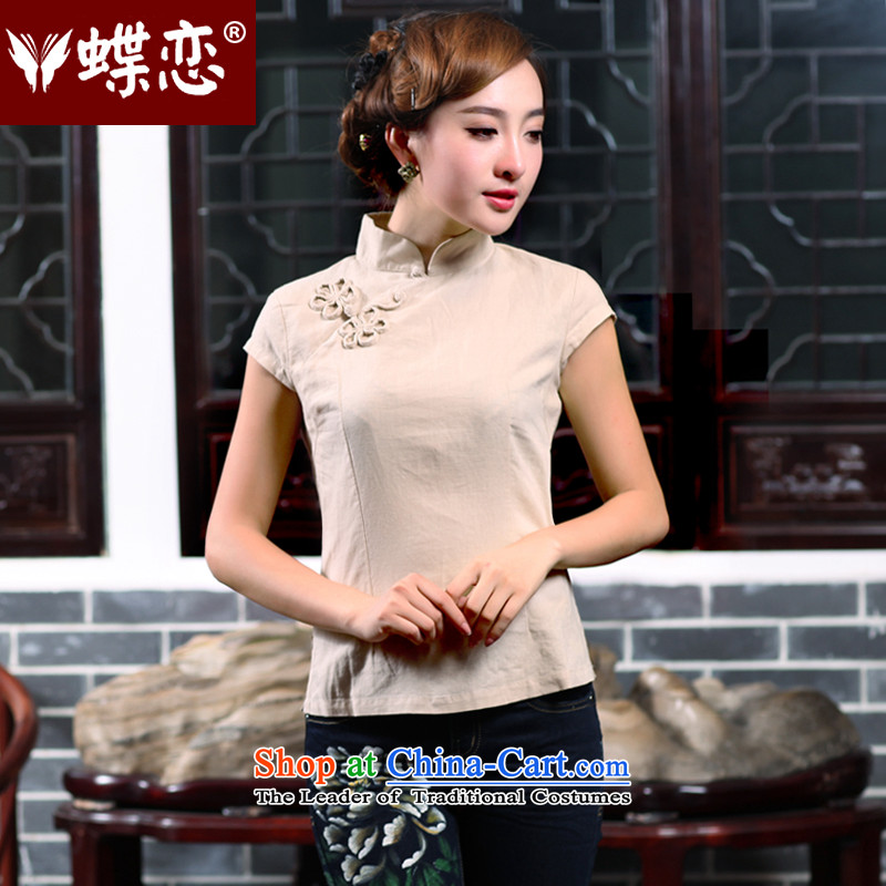 The Butterfly Lovers 2015 Summer new improved qipao linen clothes short-sleeved shirt Tang Dynasty Female?40160?apricot?XXL