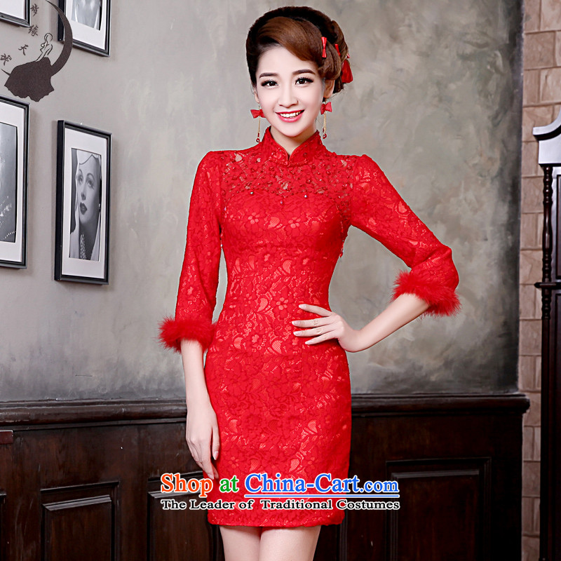 The leading edge of the days of the 2015 Fall_Winter Collections new short, Red 7 Cuff     improved bride CHINESE CHEONGSAM 8672 Red?XXL 2.3 feet waist