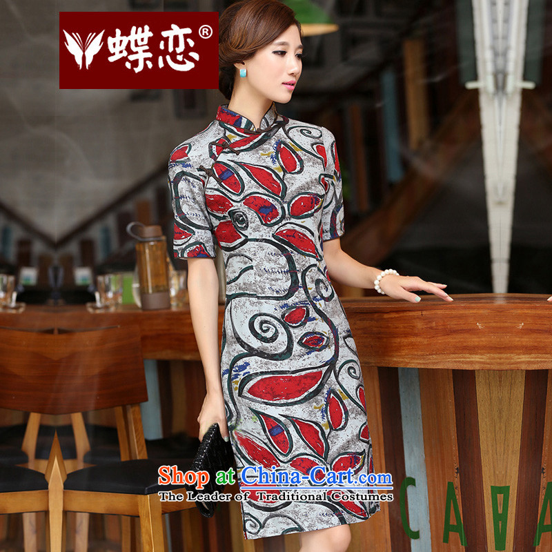 Butterfly Lovers 205 new QIPAO) Autumn skirt retro collar badges need improved disk detained cheongsam dress manually 40158 figure�XXL
