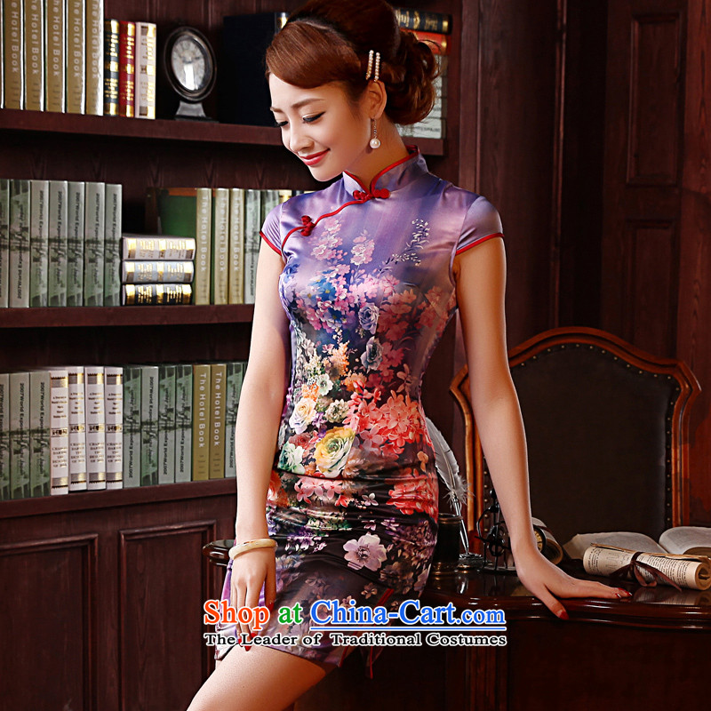 Morning new qipao land 2014 Summer retro short-sleeved improved stylish herbs extract silk Chinese cheongsam dress green�M