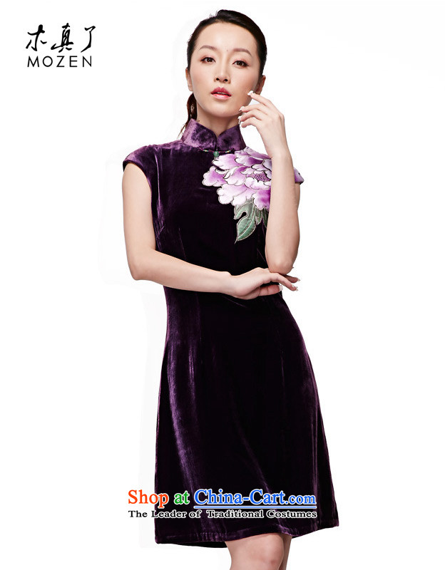 Wooden spring and summer of 2015 really new Chinese silk dress black velvet curtains of improved cheongsam dress temperament female skirt 16 E.Relationship purple L