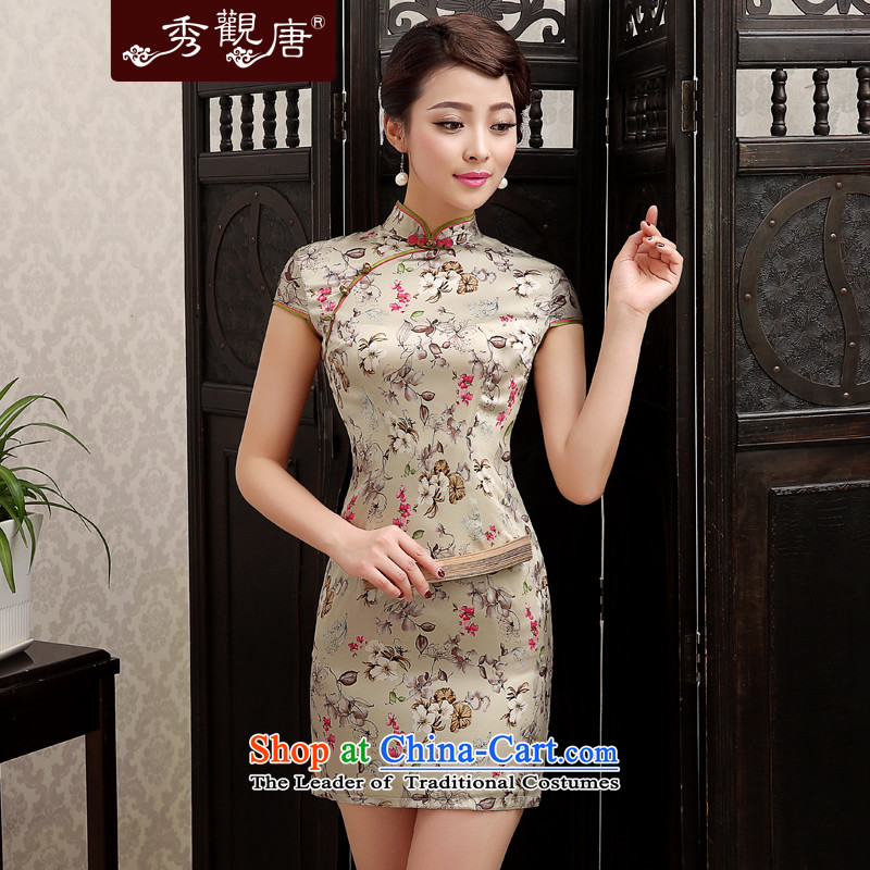 -Sau Kwun Tong- chopper star 2014 Summer saika silk cheongsam dress herbs extract retro cheongsam dress QD4138 SUIT聽XL